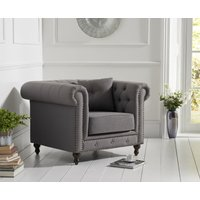 Milano Chesterfield Grey Linen Fabric Armchair