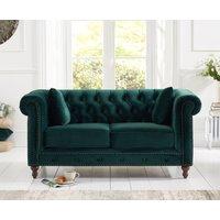 Milano Chesterfield Green Plush 2 Seater Sofa
