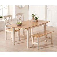 Chiltern 120cm Oak and Cream Extending Dining Table with Epsom Chairs and Bench