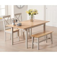 Chiltern 120cm Oak and Grey Extending Dining Table with Epsom Chairs and Bench