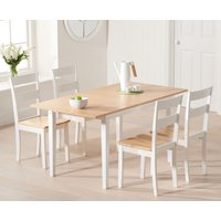 Chiltern 120cm Oak and White Extending Dining Table with Chairs