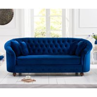 Product photograph showing Cara Chesterfield Blue Plush Fabric Three-seater Sofa