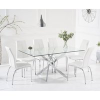 Read more about Denver 160cm glass dining table with cavello chairs