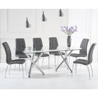 Product photograph showing Eloise 200cm Glass Dining Table With Calgary Chairs