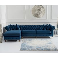 Product photograph showing Fusion Blue Velvet Left Facing Chesterfield Chaise Sofa