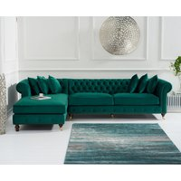 Product photograph showing Fusion Green Velvet Left Facing Chesterfield Chaise Sofa