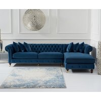Product photograph showing Fusion Blue Velvet Right Facing Chesterfield Chaise Sofa