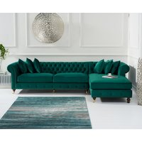 Product photograph showing Fusion Green Velvet Right Facing Chesterfield Chaise Sofa