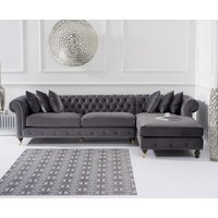 Product photograph showing Fusion Grey Velvet Right Facing Chesterfield Chaise Sofa