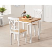 Product photograph showing Hastings 60cm Oak And White Extending Dining Table With Epsom Chairs