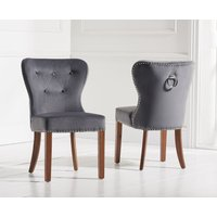 Read more about Knightsbridge studded grey plush dark oak leg dining chairs -pairs-