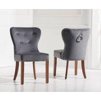 Read more about Knightsbridge studded grey plush dark oak leg dining chairs -pairs-