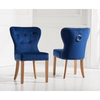 Product photograph showing Knightsbridge Studded Blue Velvet Fabric Oak Leg Dining Chairs Pairs