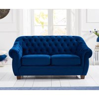 Product photograph showing Lacey Chesterfield Blue Plush Fabric Two-seater Sofa