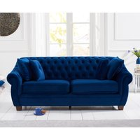 Product photograph showing Lacey Chesterfield Blue Plush Fabric Three-seater Sofa