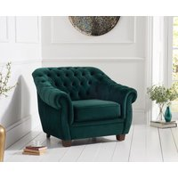 Read more about Lacey chesterfield green plush fabric armchair