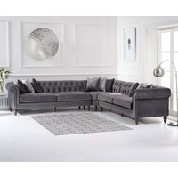 Product photograph showing Livi Grey Velvet Corner Sofa