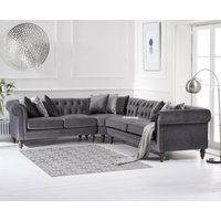 Product photograph showing Livi Medium Grey Velvet Corner Sofa