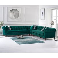 Product photograph showing Livi Green Velvet Corner Sofa