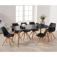 Product photograph showing Maida Vale 180cm Matt Black Dining Table With Ophelia Round Leg Faux Leather Chairs