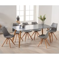 Maida Vale 180cm Matt Grey Dining Table with Ophelia Round Leg Faux Leather Chairs