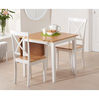 Milton 75cm Oak and White Extending Dining Table with Epsom
