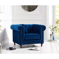 Read more about Milano chesterfield blue plush armchair