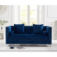 Product photograph showing New Jersey Blue Velvet 3 Seater Sofa