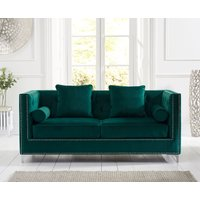 Product photograph showing New Jersey Green Velvet 3 Seater Sofa