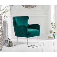 Product photograph showing Brema Green Velvet Accent Chair