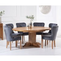 Torino Solid Oak Extending Pedestal Dining Table with Knightsbridge Velvet Chairs