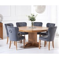 Torino 150cm Solid Oak Round Pedestal Dining Table with