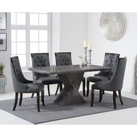 Andre 160cm Grey Marble Dining Table with Angelica Chairs