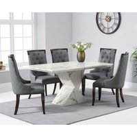 Read more about Andre 160cm white marble dining table with angelica chairs