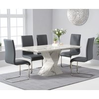 Read more about Andre 160cm white marble dining table with malaga chairs