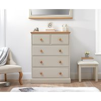 Product photograph showing Addison Oak And Stone Painted 2 Over 3 Chest Of Drawers
