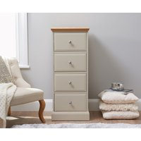 Read more about Addison oak and stone painted 4 drawer narrow chest