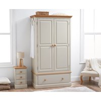 Product photograph showing Addison Oak And Stone Painted Large Two Door Wardrobe