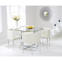 Read more about Algarve glass stowaway dining table with cream high back stools