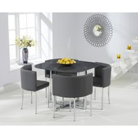 Product photograph showing Algarve Grey Stowaway Dining Table With Grey High Back Stools