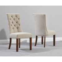 Product photograph showing Anais Beige Fabric Dark Oak Leg Dining Chairs Pairs