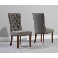 Product photograph showing Anais Grey Fabric Dark Oak Leg Dining Chairs Pairs