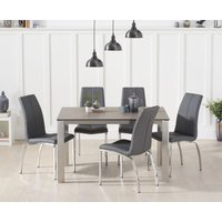 Read more about Antonia 130cm brown italian ceramic dining table with cavello faux leather chairs