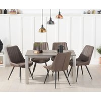 Read more about Antonia 130cm brown italian ceramic dining table with marcel antique chairs