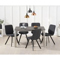 Read more about Antonia 130cm mink/brown spanish ceramic dining table with dali faux leather chairs