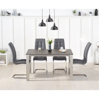 Read more about Antonia 130cm mink/brown spanish ceramic dining table with lorin faux leather chairs