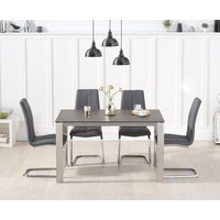 Read more about Antonia 130cm mink/brown spanish ceramic dining table with tarin faux leather chairs