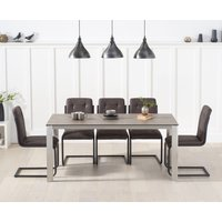 Read more about Antonia 170cm brown italian ceramic dining table with alana dining chairs