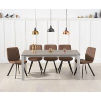 Read more about Antonia 170cm brown italian ceramic dining table with dali faux leather chairs