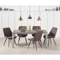 Read more about Antonia 170cm brown italian ceramic dining table with marcel antique chairs